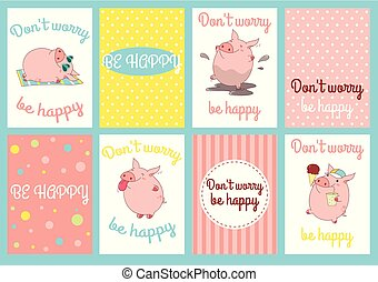 Set of banners with cute pigs