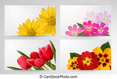 Set of banners with different colorful flower. Vector illustration.
