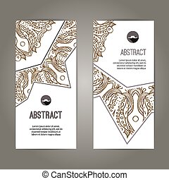 Set of banners with doodles round pattern design hand drawn