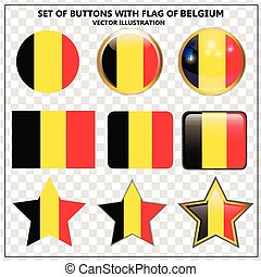 Set of banners with flag of Belgium.