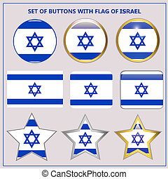 Set of banners with flag of Israel.