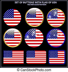 a56a302dd5ee Set of banners with flag of USA.