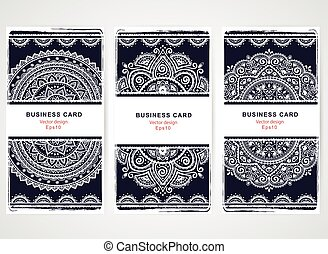 Set of banners with floral Indian ornaments. Ethnic Mandala. Boh