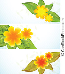 Set of banners with flowers