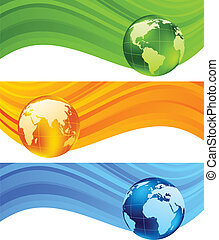Set of banners with globe. Vector illustration