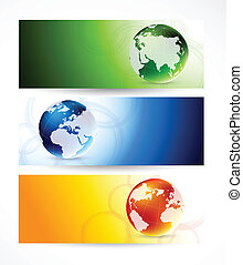 Set of banners with globes