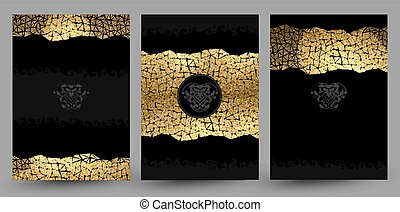 set of banners with gold texture decoration on the black background.