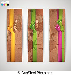 set of banners with grunge cardboard texture and multicolored ribbons