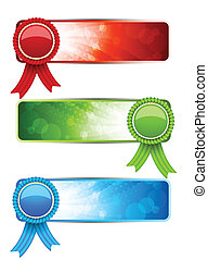 Set of banners with label