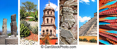 Set of banners with landmarks of Mexico - Collection of...