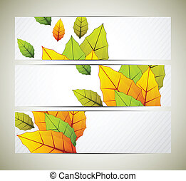 Set of banners with leaves