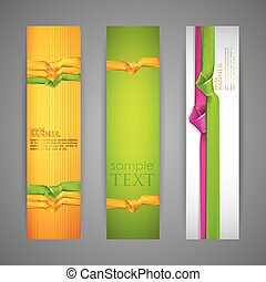 set of banners with multicolored ribbons