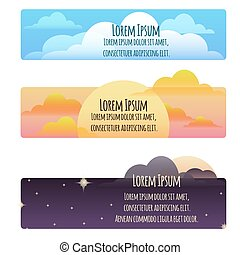 Set of banners with natural weather day, sunset, night and place