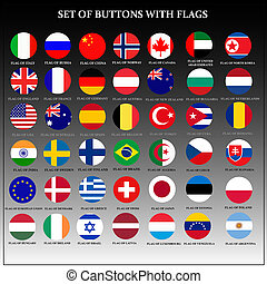 Set of banners with popular flags.