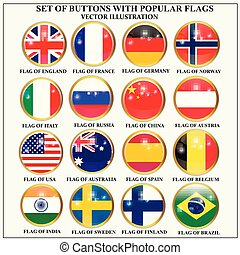 Set of banners with popular flags. Vector.