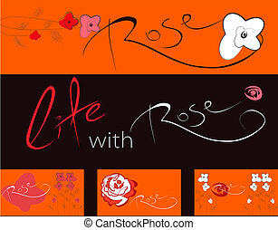 Set of banners with roses flowers