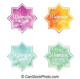 Set of banners with star shape