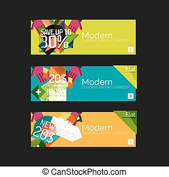 Set of banners with stickers, labels and elements for sale