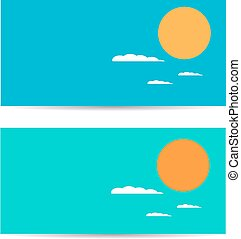 Set of banners with sun and clouds. Vector illustration