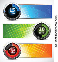 Set of banners with timers - Bright set of color banners...