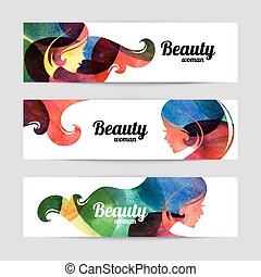 Set of banners with watercolor beautiful girl silhouettes.