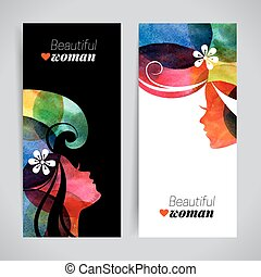 Set of banners with watercolor beautiful girl silhouettes