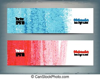 Set of banners with watercolor hand drawn texture.