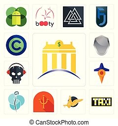 Set of banque, taksi, gryphon, psi, neurosurgery, travel, skull with headphone, shield, copyright free icons