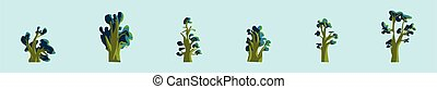 set of baobab or african tree cartoon icon design template with various models. vector illustration isolated on blue background