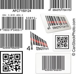 Set of bar codes and qr codes