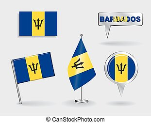 Set of Barbados pin, icon and map pointer flags. Vector