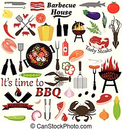 Set of barbecue and grilled food: steak, sausage, seafood and vegetables.