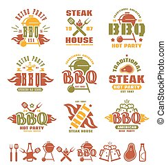 Set of barbecue labels, badges, and design elements