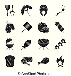 Set of barbecue related vector line icons including meat, bonfire, vegetables and seafood