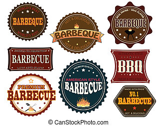 Set of barbeque labels and elements on white, vector...