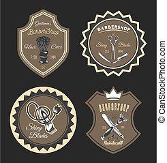 Set of barber image. Shaving brush, razor, scissors, barbershop concept. Flat vector image