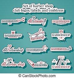 Set of barber shop club logos, labels and emblems
