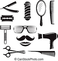 Set of  barber shop elements.