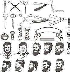Set of  barber tools. Man's heads. Design elements for logo, label, emblem, sign, poster, badge. Vector illustration