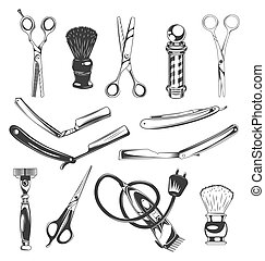 Set of barbershop tools, instruments, symbols, barber professional equipment, making style