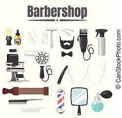set of barbershop tools - Vector cartoon style illustration...