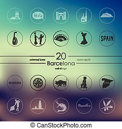 Set of Barcelona icons - Barcelona modern icons for mobile...