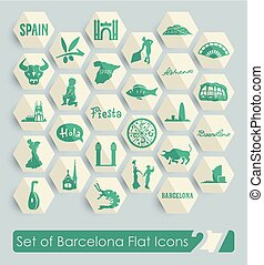 Set of Barcelona icons - Set of Barcelona flat icons for Web...