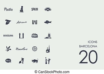 Set of Barcelona icons - Barcelona vector set of modern...