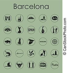 Set of Barcelona simple icons - It is a set of Barcelona...