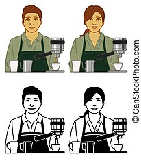 set of barista server vector icons male and female, with coffee cups and espresso maker isolated on a white background