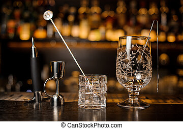 Set of barman equipment on the bar counter