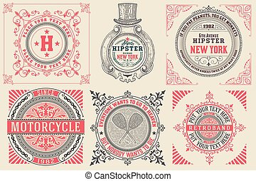 Set of Baroque cards/logos with floral details. Elements organiz