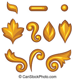 Set of baroque ornamental floral gold elements.