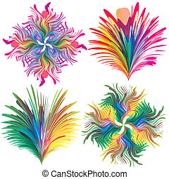 Set of baroque vector flowers - Elements in rainbow colors ...